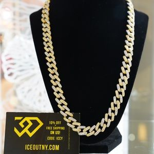14k Iced Out 12mm Gold Two Tone Cuban Link Chain